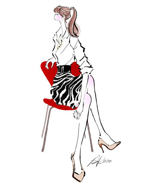 座ったまま腰をひねる体操する女性のイラスト