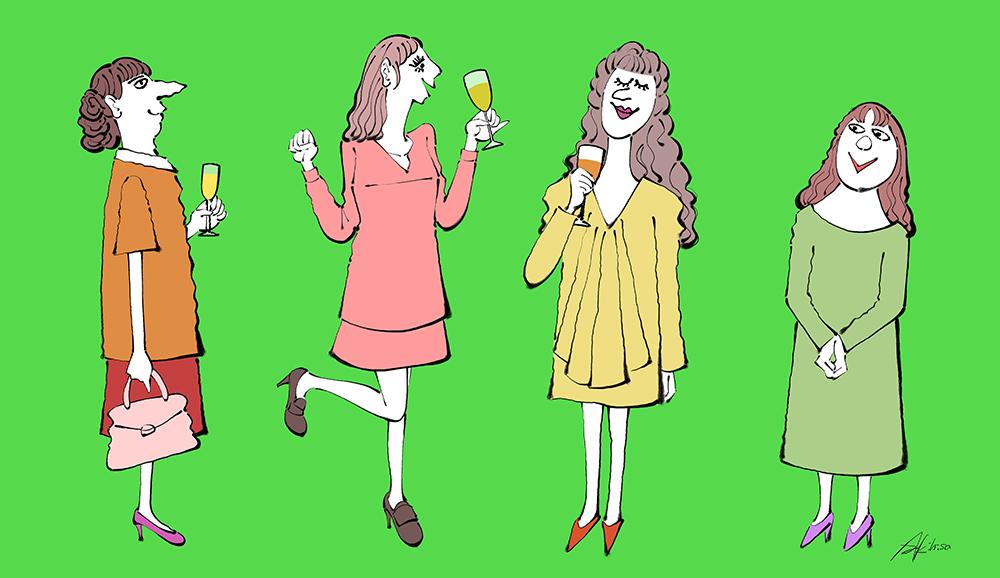 パーティーを楽しむ女性たちのイラスト