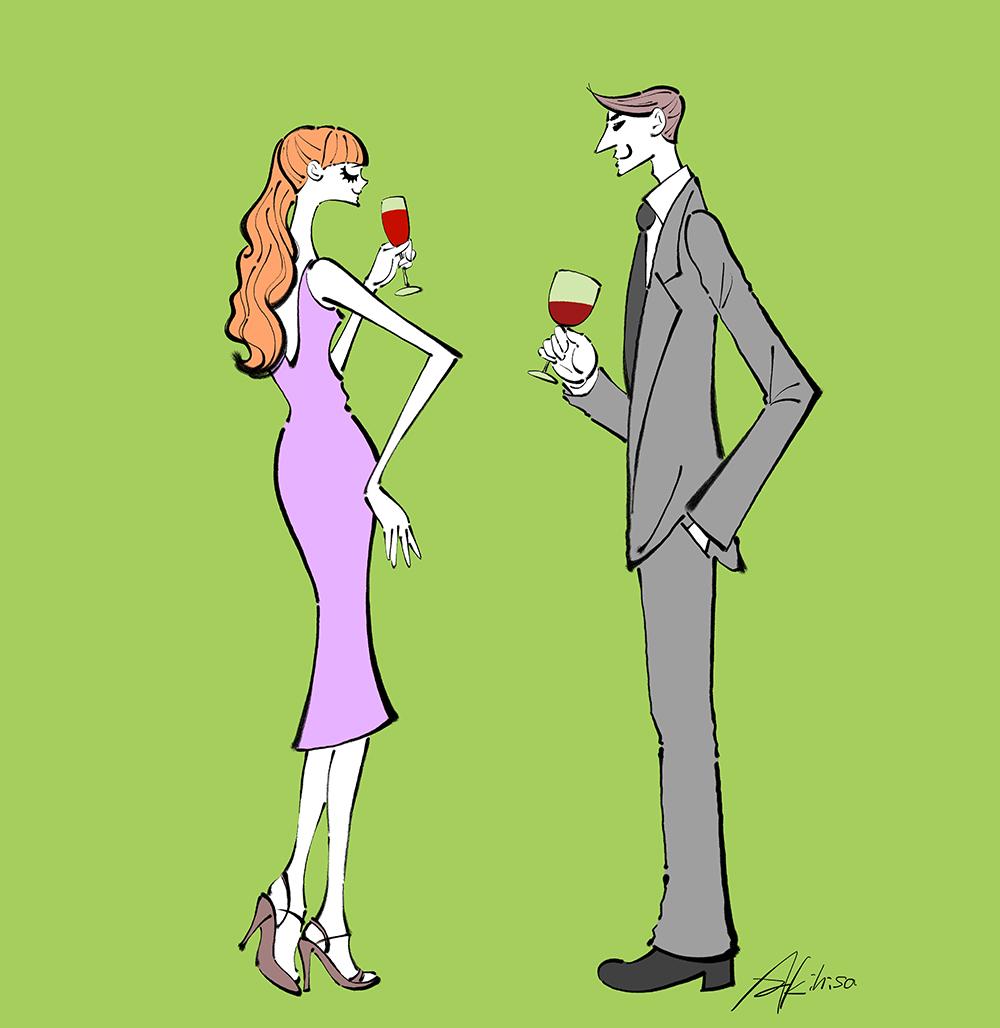 立食パーティーでお酒を飲むカップルのイラス
