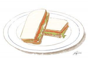 村上春樹「レタスとスモークサーモンのサンドイッチ」のイラスト