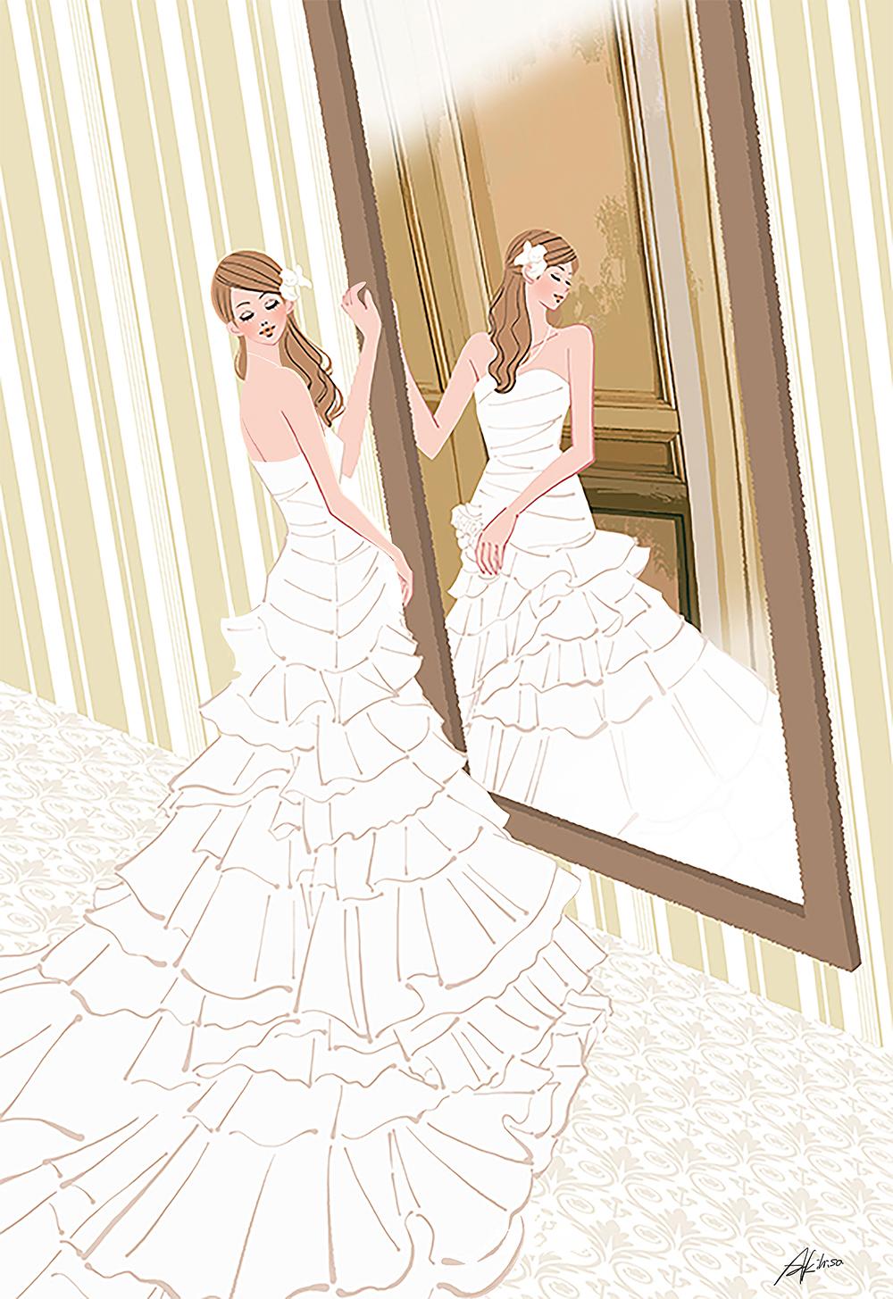 イラスト/結婚式の日・控え室で鏡の前に立つウェディングドレスの女性