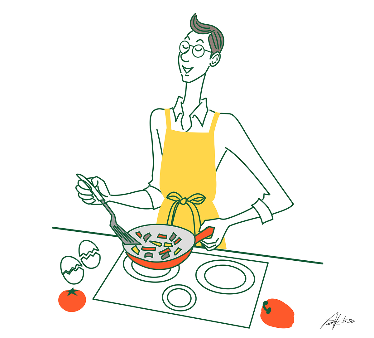 イラスト/キッチンに立つパパ・男の料理