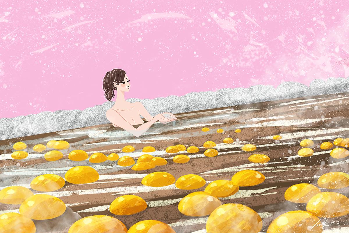 イラスト/冬至・温泉でゆず湯を楽しむ女の子