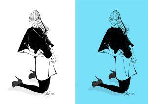 モノトーンで描くポニーテールの女性のイラスト