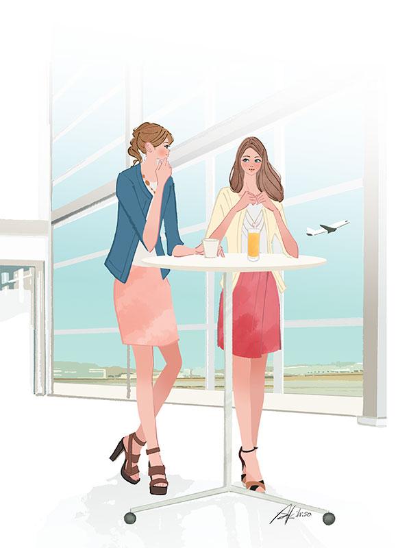 イラスト/空港のラウンジで過ごす女性_旅行