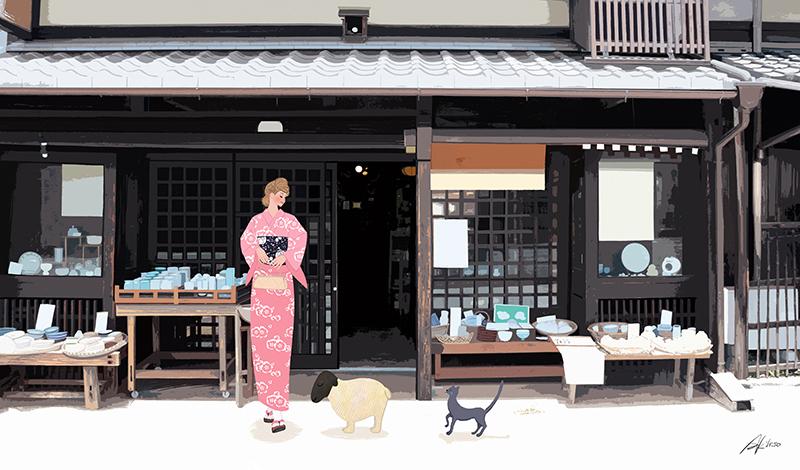 イラスト/未年(ひつじ年)年賀状_京都で過ごす女性
