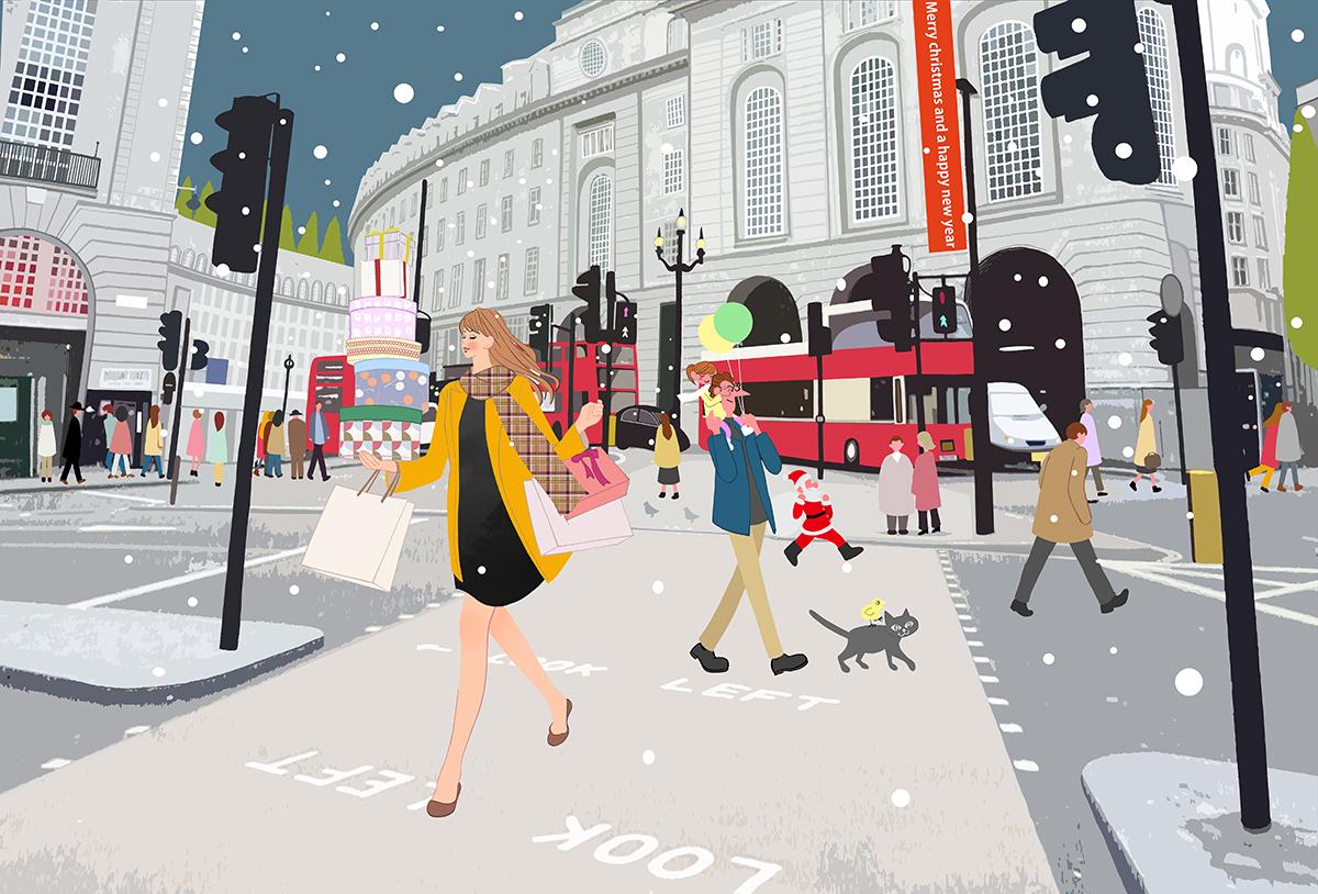 クリスマスイブ、街をゆく人たちとプレゼントを買って帰る女の子のイラスト