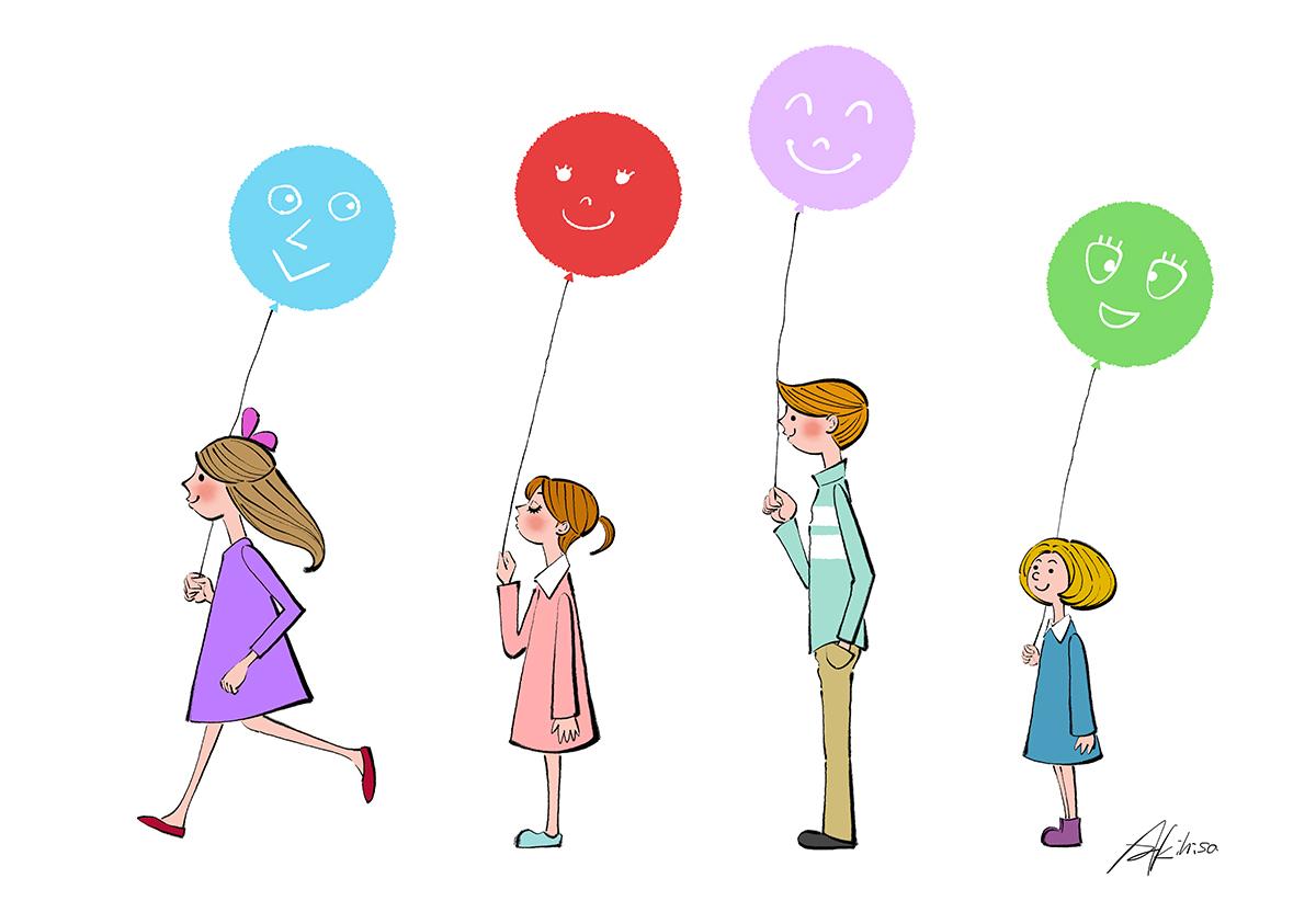 風船を持つ子供たちのイラスト