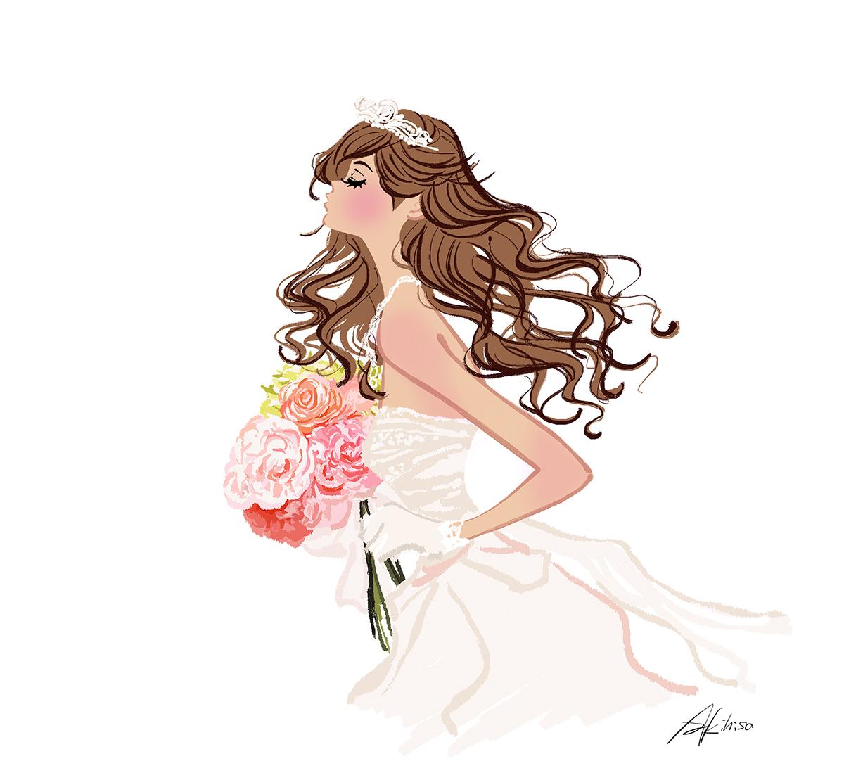 ウェディング・ドレス/花嫁のイラスト