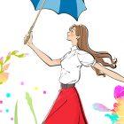 傘を持つ女性のイラスト。雨上がり、明るい未来へ向かって
