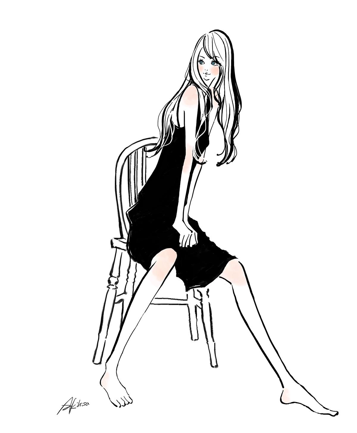 イラスト/モノトーン・椅子に座るドレスの女性