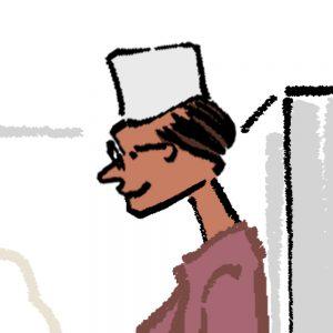 料理する男性・ラーメンを茹でるおじさんのイラスト