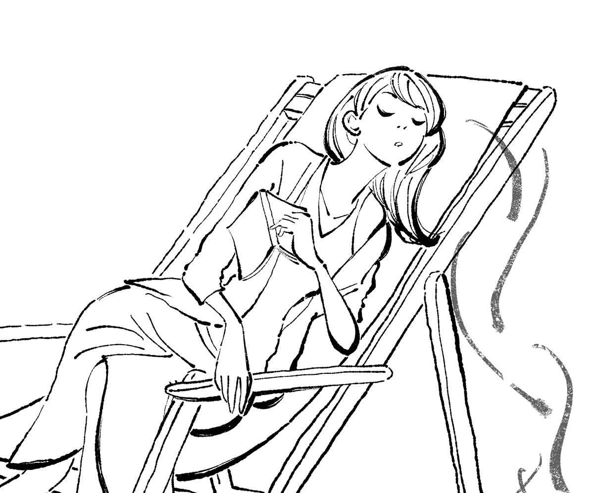 木陰でうたた寝する女の子のイラスト