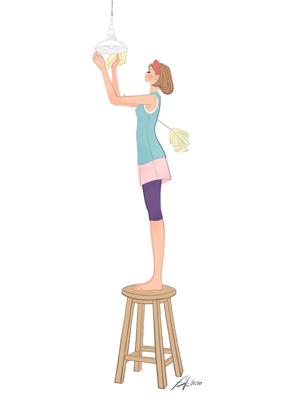 年末の大掃除をする女性のイラスト
