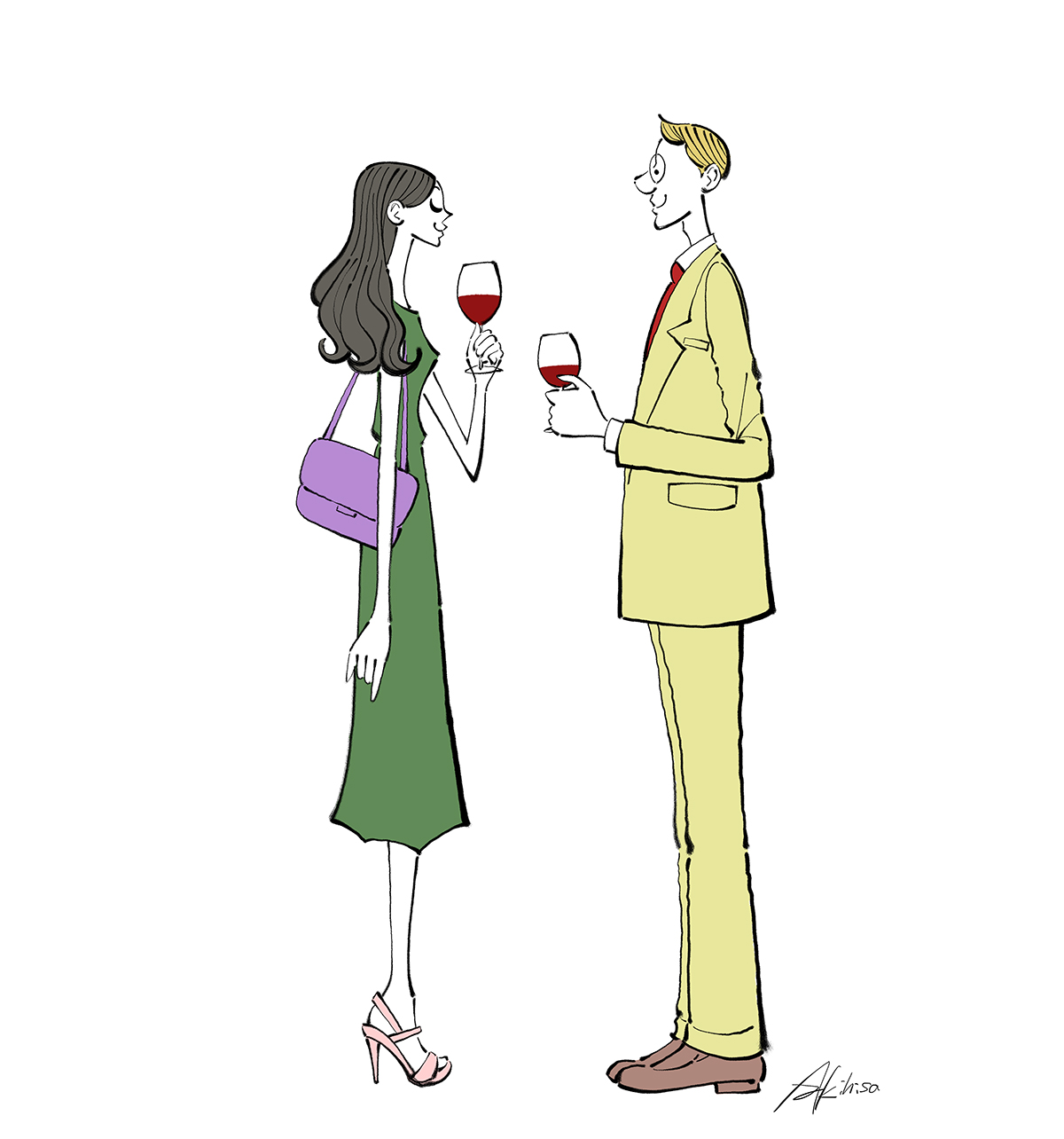 ワイングラスを持つ、パーティーのカップルのイラスト