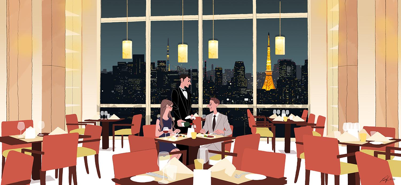 イラスト/特別な夜、夜景のきれいなレストランでディナーを楽しむカップル(クリスマスイブ)