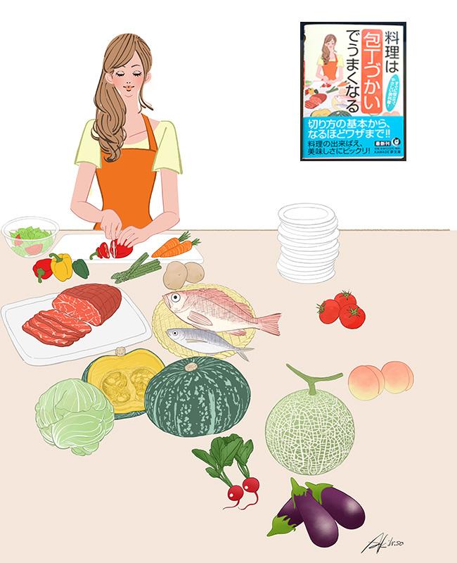 「料理は包丁使いでうまくなる」表紙イラスト