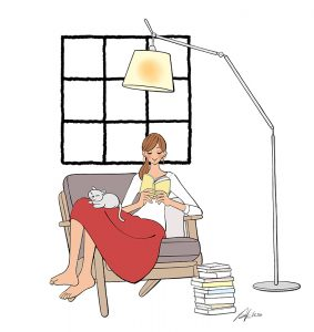 ソファに座って読書する女性と猫のイラスト