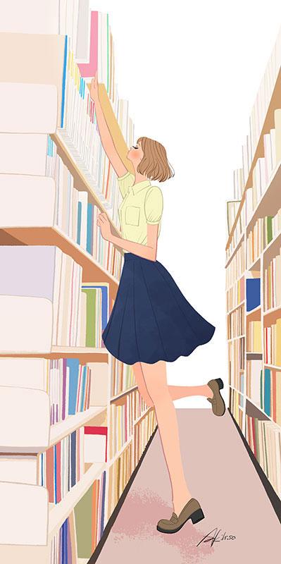 図書館・書店の本棚に手を伸ばす女の子のイラスト
