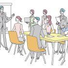 ミーティング、会議、プレゼンテーションのイラスト