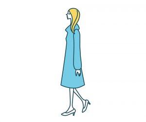 コートを着て歩く女性のイラスト