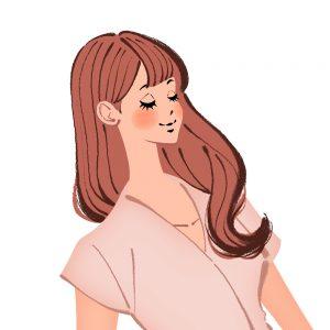 目を閉じる女性のイラスト