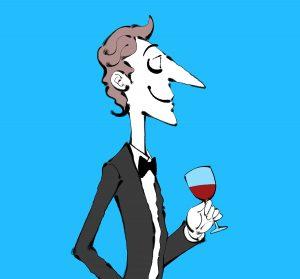 ワイングラスを持つタキシードの男性のイラスト