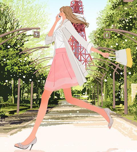 東京タワー_スマホで電話をかけながら走る女の子のイラスト