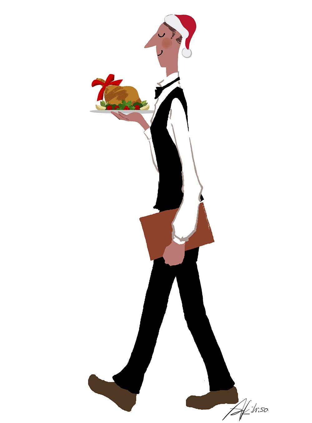 クリスマスの料理・チキンを運ぶウェイターのイラスト