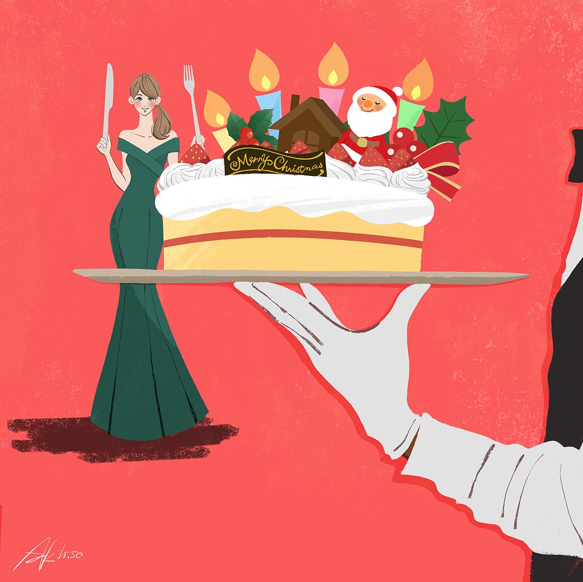 クリスウマスイブ_大きなフォークとナイフでケーキを食べる女性のイラスト