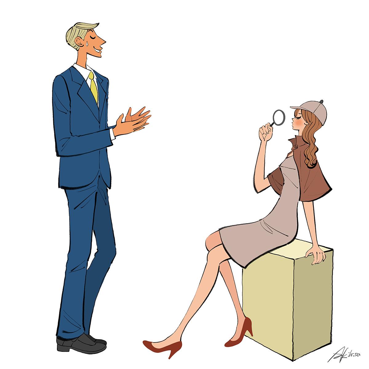 自分が持っているモノの再確認/探偵・推理する女性のイラスト