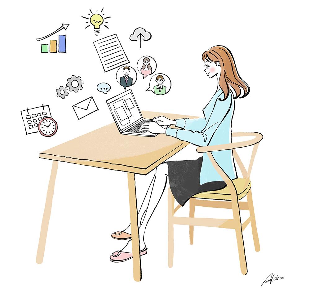 在宅ワーク_リモートワークでパソコンで仕事する女性のイラスト