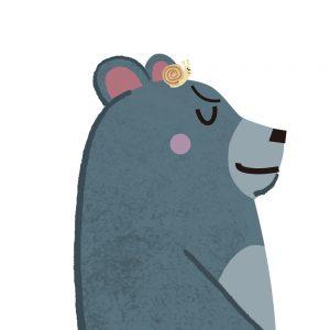 カタツムリを頭に載せた熊のイラスト