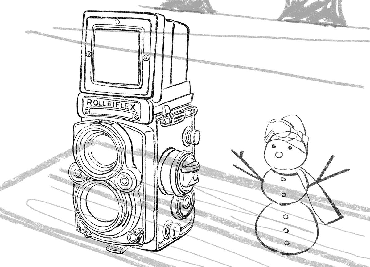 イラストラフ案の作り方・ローライフレックス二眼レフカメラ