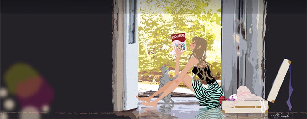床に座り旅行ガイドを読む女性のイラスト