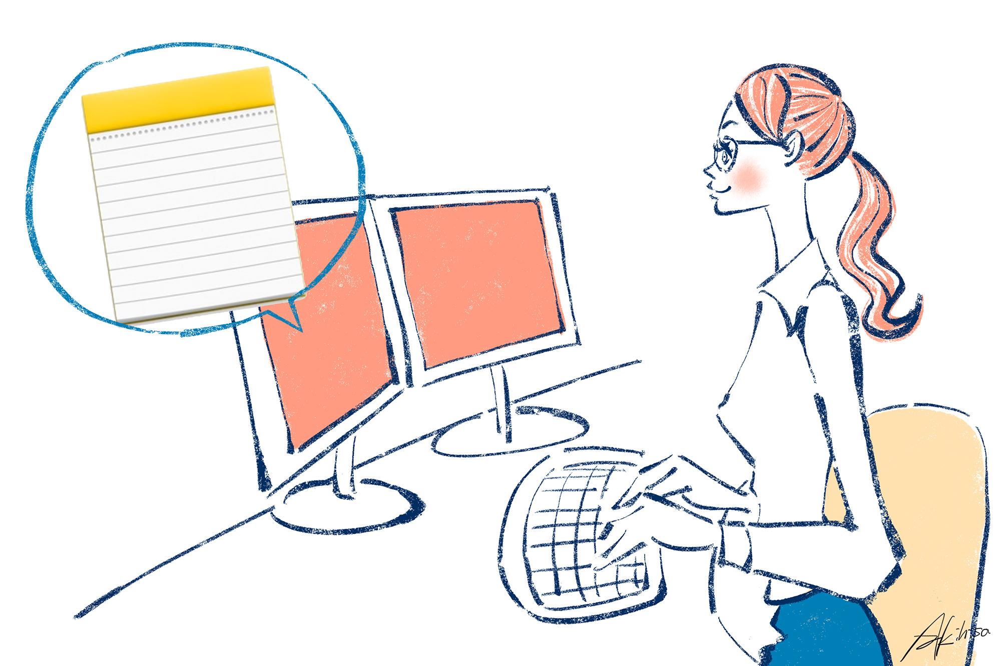 Mac「メモ」の活用。パソコン2台を使って仕事する女性のイラスト