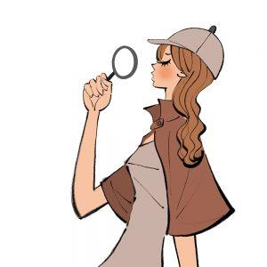 自分が持っているモノの再確認/探偵姿・推理する女性のイラスト