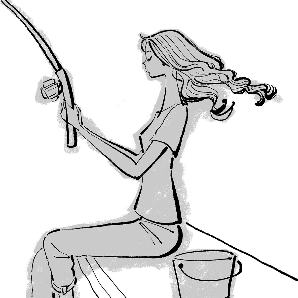 魚釣りをする女性のイラスト