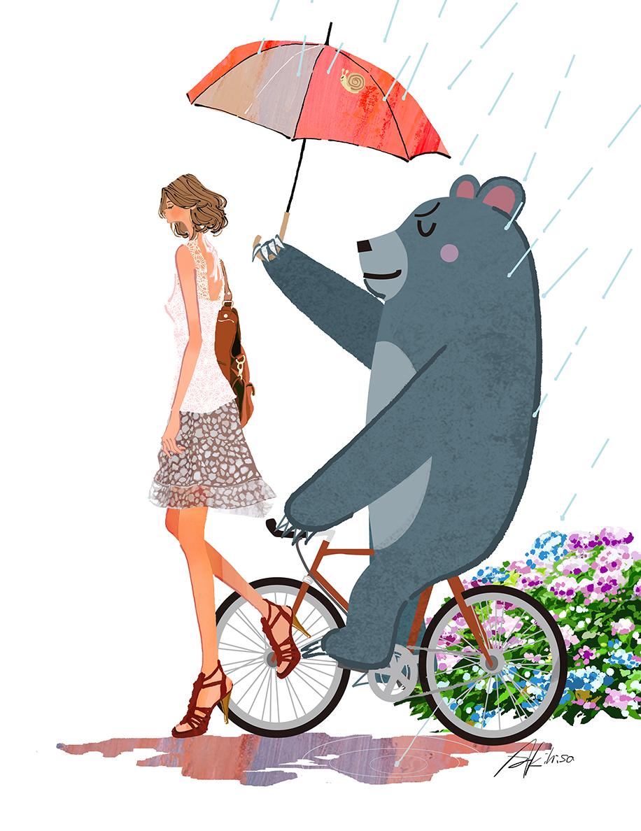 雨の中を歩く女性と自転車に乗って傘を差す熊のイラスト