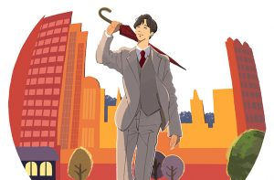 イラスト/山崎育三郎さん_雨上がりの夕日の街を歩く男性のイラスト