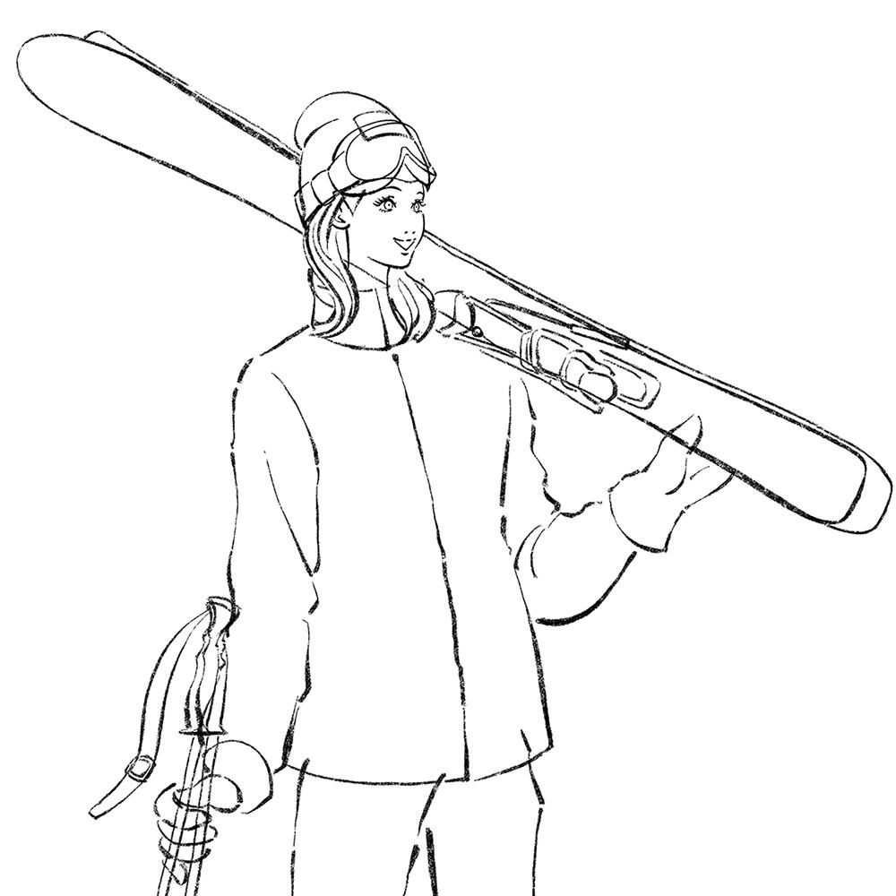 スキーウェアを着た女性のイラスト