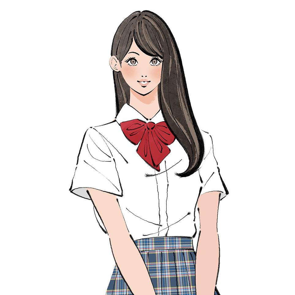 女子高校生のイラスト_正面、カバンを持つ