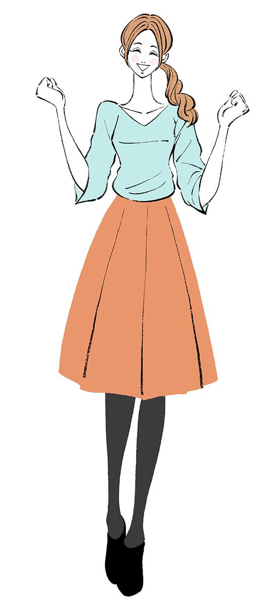 嬉しい、楽しい、ガッツポーズをする女性のイラスト