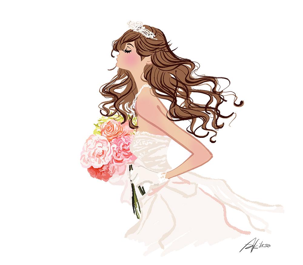 ブーケを抱えて走るウェディングドレスの女性のイラスト。ゼクシィ