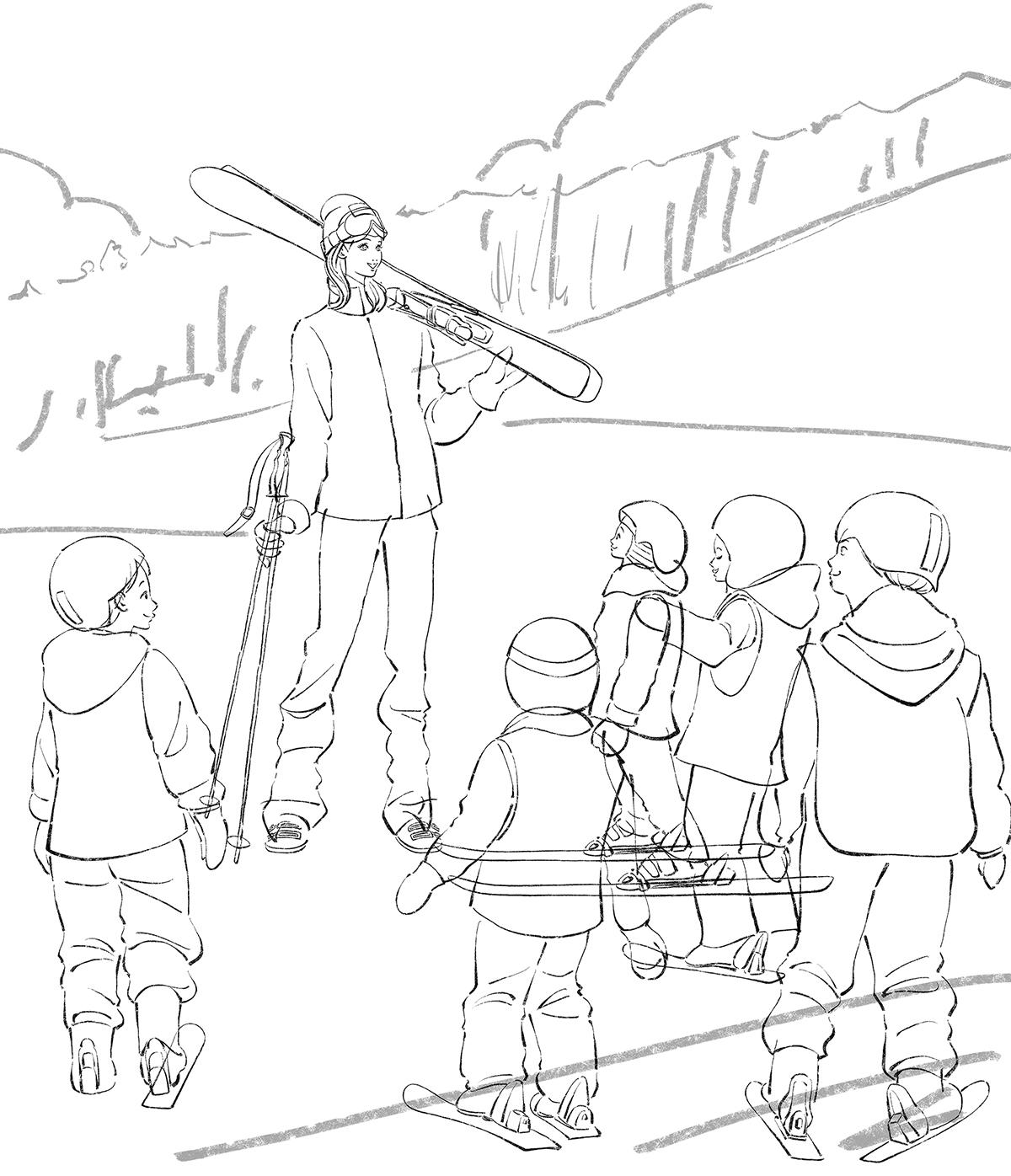 スキー教室で教える女性のイラスト