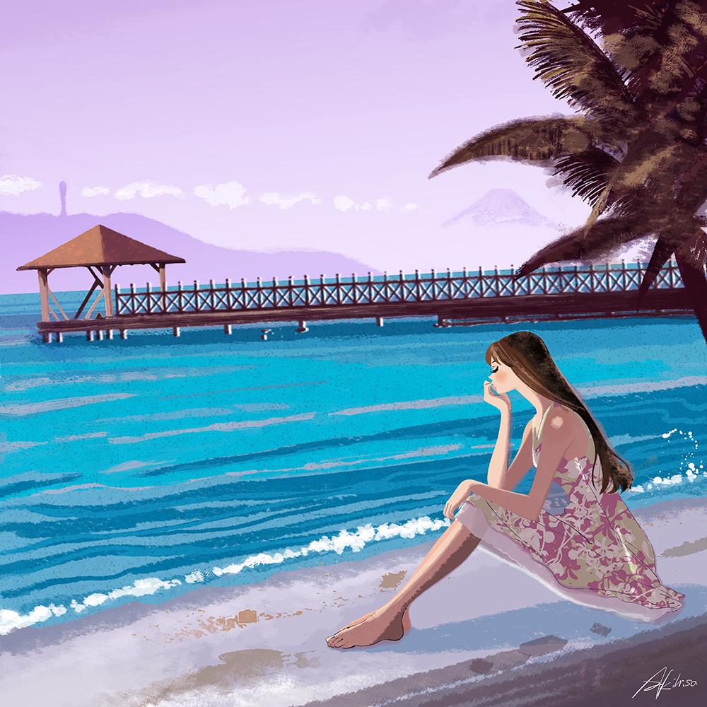 夕暮れ浜辺に座る女性のイラスト