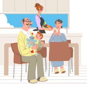家族のイラスト/ママ、子供、祖父母