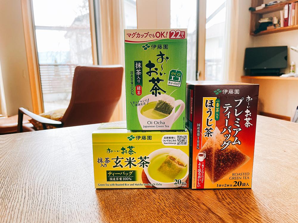 ティーパックのお茶3種類/緑茶・ほうじ茶・玄米茶