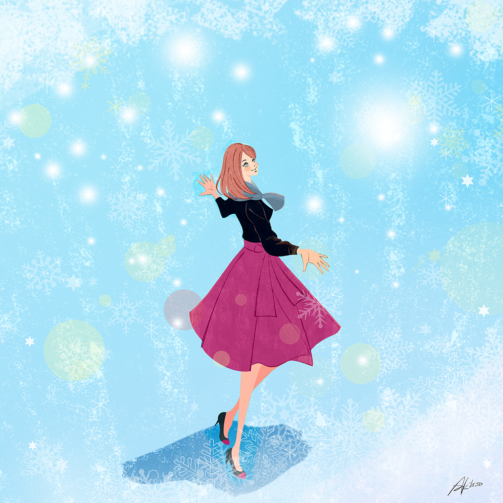 雪の舞う中を歩く女性のイラスト