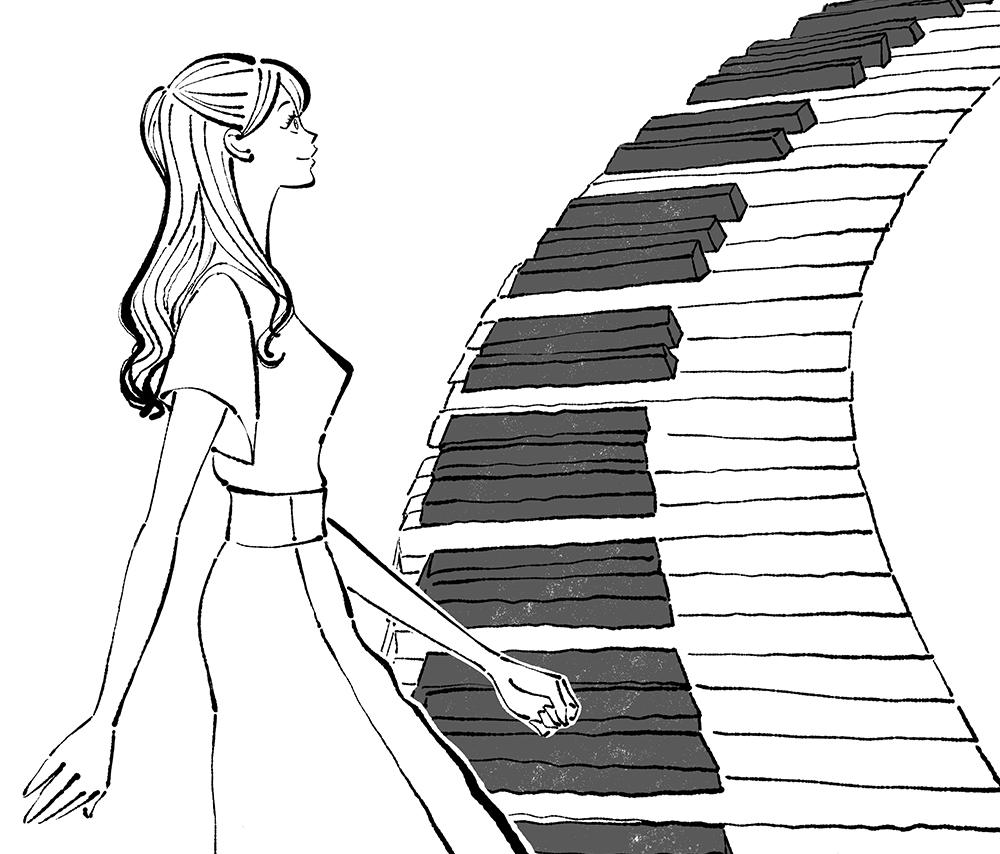 ピアノの階段を昇る女性のイラスト